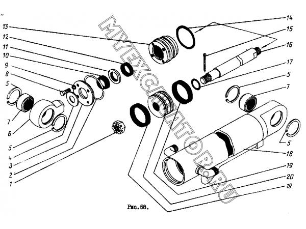 Цилиндр ковшовый ТО-30.44.10.000 Орел-Погрузчик ТО-30