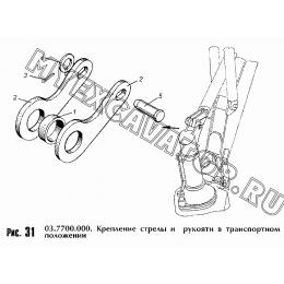 Крепление стрелы и рукояти в транспортном положении 03.7700.000