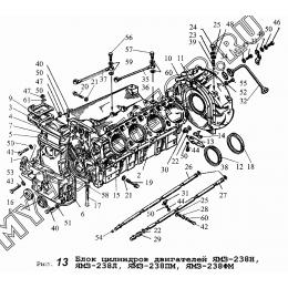 Блок цилиндров двигателей ЯМЗ-238Н, ЯМЗ-238Л, ЯМЗ-238ПМ, ЯМЗ-238ФМ. ЯМЗ 236