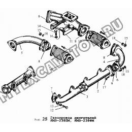 Газопровод двигателя ЯМЗ-238ПМ, ЯМЗ-238ФМ ЯМЗ 236