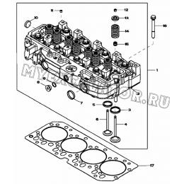 Головка блока цилиндров/CYLINDER HEAD AND GASKET, 4045HF280 (S/N: A19001-) G1-32-1 Hidromek HMK 102 B