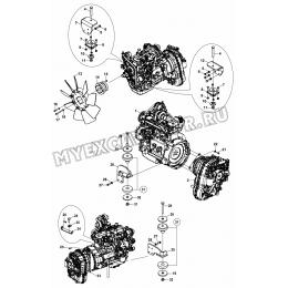Установка двигателя/CHASSIS - CAB - ENGINE MOUNTINGS (S/N: A19001-) G2-1-1 Hidromek HMK 102 B