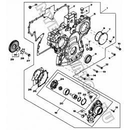 Картер шестерен, водяной насос/TIMING GEAR COVER, WATER PUMP AND CRANKSHAFT LOWER IDLER GEAR, 4045HF280 (S/N: A19001-) G1-25-1 Hidromek HMK 102 B