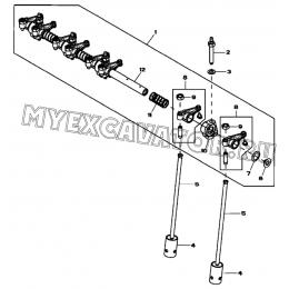 Клапанный механизм/ROCKER ARM, ROCKER ARM SHAFT AND CAM FOLLOWER, 4045HF280 (S/N: A19001-) G1-30-1 Hidromek HMK 102 B