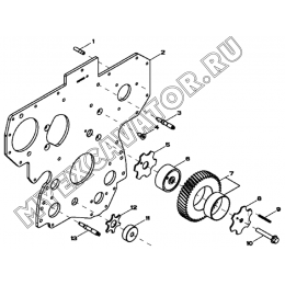 Пластина передняя и шестерни/FRONT PLATE AND IDLE GEARS (UPPER AND LOWER), 4045HF280 (S/N: A19001-) G1-21-1 Hidromek HMK 102 B