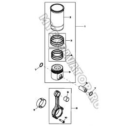 Поршень и шатун/PISTON, CONNECTING ROD, CYLINDER LINER, 4045HF280 (S/N: A19001-) G1-29-1 Hidromek HMK 102 B