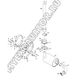 Выхлопная труба и глушитель/EXHAUST ASSEMBLY (S/N: A19001-) G2-3-1 Hidromek HMK 102 B