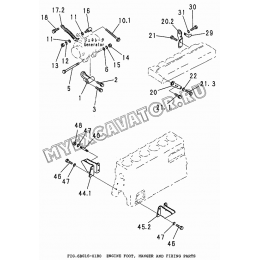 6BG16-01B0 Подвеска двигателя/ENGINE FOOT, HANGER AND FIXING PARTS Isuzu 6BG1