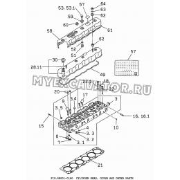 6BG01-01A0 Головка цилиндров и крышка/CYLINDER HEAD, COVER AND OHTER PARTS Isuzu 6BG1