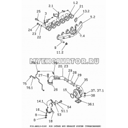 6BG13-01A0 Впускная и выпускная система/AIR INTAKE AND EXHAUST SYSTEM (TURBOCHARGER) Isuzu 6BG1
