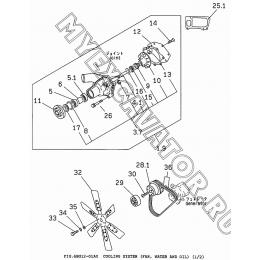 6BG12-01A0 Система охлаждения/COOLING SYSTEM (FAN, WATER AND OIL) (1/2) Isuzu 6BG1