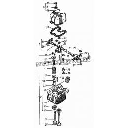 Головка цилиндра. Клапаны и толкатели клапанов ВТЗ Д-120