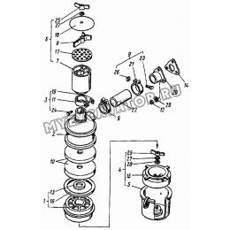 Воздухоочиститель Д21А-1109012АЗ (Д120-03, Д120-04, Д120-07, Д120-24, Д120-45, Д120-46) ВТЗ Д-120